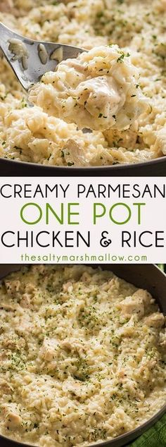 This Creamy Parmesan One Pot Chicken and Rice is the easiest chicken and rice casserole! A simple dinner recipe for chicken and rice that is cheesy, delicious, and ready in 30 minutes! Creamy Parmesan One Pot Chicken and Rice - This deliciously c Chicken Rice Recipes, Rice Recipes For Dinner, Seafood Recipes, Pasta Recipes, Coleslaw Recipes, Potato Recipes, Simple Rice Recipes, Fish Recipes, Restaurant Recipes
