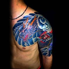 Blue Clouds With Japanese Dragon Mens Half Sleeve And Chest Tattoos