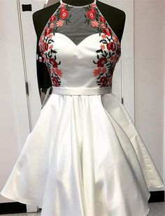 A-Line Round Neck Backless Short White Satin Homecoming Dress with Appliques, Shop plus-sized prom dresses for curvy figures and plus-size party dresses. Ball gowns for prom in plus sizes and short plus-sized prom dresses for Homecoming Dresses 2017, Gold Prom Dresses, Dance Dresses, Evening Dresses, Summer Dresses, Wedding Dresses, Fall Dresses, Bridesmaid Dress, Elegant Dresses
