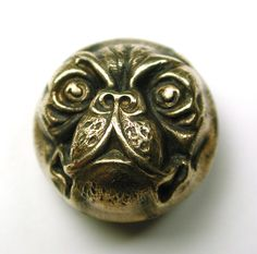 Antique Button Victorian Pug Dog Ball Shape 3/4 inch 3D Type - Outstanding
