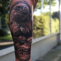 65 Eagle Tattoos ❖❖❖ ❖❖❖ With a pointed beak, powerful claws and robust bearing, the eagle is the queen of the skies. Its incredible hunting ability, excellent vision, intelli. Eagle Tattoo Forearm, Eagle Head Tattoo, Eagle Tattoos, Dope Tattoos, Cool Tattoos For Guys, Leg Tattoos, Body Art Tattoos, Sleeve Tattoos, Tatoos