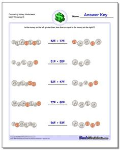 Compare two different amounts of money (coins and bills) to see if they are greater than, less than or equal amounts. Free printable PDFs with answer keys and more! Free Printable Math Worksheets, Money Worksheets, School Worksheets, Worksheets For Kids, Free Printables, Counting Coins, Heavy And Light, Basic Math, Math Facts