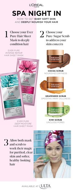Bring the spa experience to your next girl's night with Intense Repair Hair Sheet Mask and Pure Sugar Purify & Unclog Face Scrub from L'Oreal Paris. Gently yet deeply exfoliate your skin with the Pure Sugar scrub while strengthening and protecting your lo Spa Night, Hair Repair, L'oréal Paris, Tips Belleza, Oils For Skin, Hair Conditioner, Skin Treatments, Face And Body, Body Care