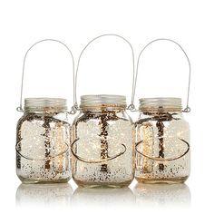 Winter Lane Set of 3 Lit Mercury Glass Mason Jars