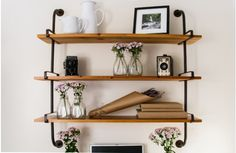 Open Pipe Shelving, Pipe Shelving, Industrial Shelving, Our open pipe shelving is one of the hotest trends and this industrial shelving will be the perfect way to organize and display. For more pipe shelving please visit, www.decorsteals.com OR www.facebook.com/decorsteals
