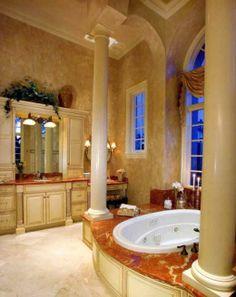 "Sater Group's ""Cordillera"" Custom Home Plan - mediterranean - bathroom - other metro - Sater Design Collection, Inc. Mediterranean Bathroom Design Ideas, Mediterranean Baths, Mediterranean Home Decor, Modern Bathroom Design, Bath Design, Bathroom Designs, Marble Bathroom Floor, Tuscan Bathroom, Granite Bathroom"