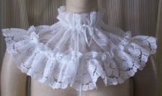 Gothic Lolita white lace Victorian Steampunk Civil  dress COLLAR