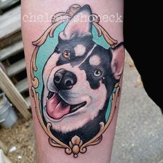 """""""Had the pleasure of tattooing Ezra the Siberian husky on his human James today! Thank you so much James, was wonderful meeting and tattooing you!…"""""""
