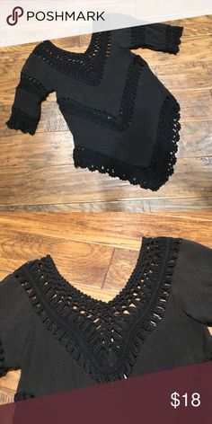 Boho Crocket Top Excellent condition!  Worn twice. No breaks in crochet. Great for layering!  No tags but fits like a small. Not fitted. Tops
