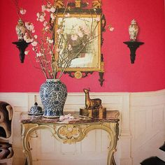Interior Designer Tip of the Day. Don't be timid...The entry of a late 19th-century house is a scene stealer with walls painted in hot pink. What a show stopper.  #harrisonandco #design #interiordesign #designer #interiorstyling #homestylist #lovemyhome #homewares