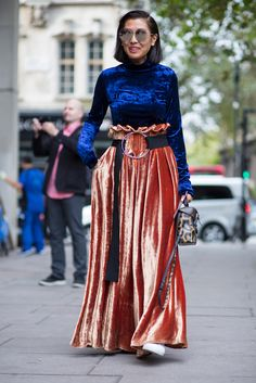 Velvet Was Everywhere on Monday Outside London Fashion Week - Fashionista
