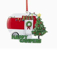 Happy Campers Resin Ornament, Red/White/Green, 3-1/2-Inch