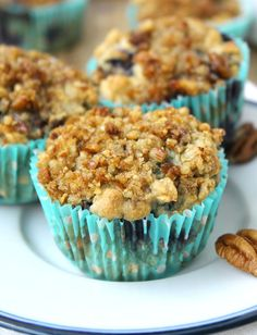 Blueberry Oatmeal Muffins with Pecan Streusel Recipe - RecipeChart.com