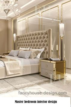 Modern dubai house interior design ideas with beige & gold colors. The luxury bedroom color schemes offer a huge palette that allows you to make a choice depending on your taste. Modern Luxury Bedroom, Master Bedroom Interior, Luxury Bedroom Design, Room Design Bedroom, Bedroom Furniture Design, Home Room Design, Luxurious Bedrooms, Home Decor Bedroom, Interior Design