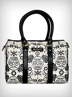 Sugar skulls and flowers bag