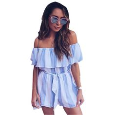 Print Lace Strapless Rompers