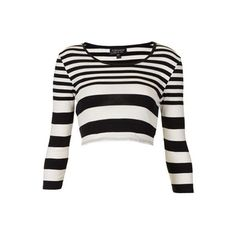 Steal Beyoncé's New York City Kanye West Birthday Party Topshop Black and White Varied Stripe Crop Top and Varied Stripe Tube Skirt found on Polyvore featuring tops, crop tops, crop, shirts and long sleeves
