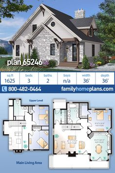 Cottage Home building Plan: 1st floor has closed foyer with large closet, family room with large fireplace, kitchen / dining room, master bedroom with walk-in closet, and a full bathroom. 2nd floor: Two bedrooms, full bathroom and mezzanine overlooking family room. #houseplan #floorplans #architectural #newhome #newconstruction #newhouse #homeplan #home #house #newhouseplan #blueprints #futurehome #newhomeplan #homedesign #buildhome #buildhouse #build #ranch #dreamhouse