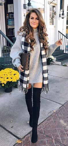 #fall #outfits women's gray turtleneck sweater; black thigh-high boots; black and gray fringe scarf Monogram canvas brown Louis Vuitton handbag
