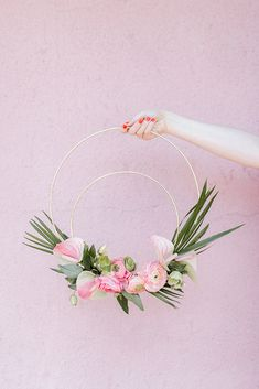 Tropical flamingo themed party with pretty diy wreaths.