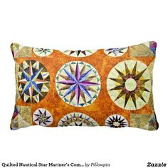Quilted Nautical Star Mariner's Compass Throw Pillows