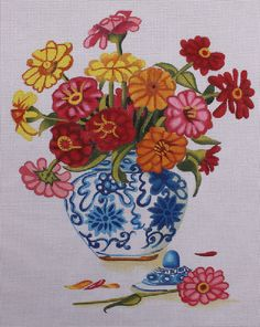 The Collection Designs Daisy's in Blue China SB926 HP Needlepoint Canvas #TheCollectionDesigns