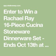 Enter to Win a Rachael Ray 16-Piece Cucina Stoneware Dinnerware Set - Ends Oct 13th at Midnight