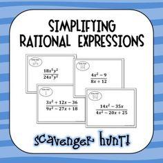 Simplifying Rational Expressions Scavenger Hunt Math Math, Math Class, Math Teacher, Fun Math, Algebra Activities, Teaching Activities, Simplifying Rational Expressions, Rational Function, Team Teaching