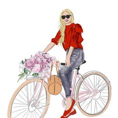 Sunny Skies = Bike Rides and Peonies Sky Bike, Happy Summer, Illustration Artists, Fashion Sketches, Woman Quotes, Peonies, Disney Princess, Disney Characters, Cute