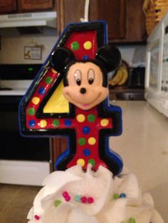 Hand-painted Mickey Mouse Clubhouse birthday candle - any number  on Etsy, $8.00