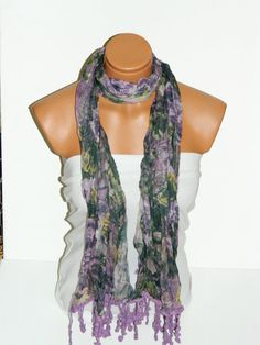purple Lilac Multicolor Scarf Turkish Fabric by WomanStyleStore, $19.90
