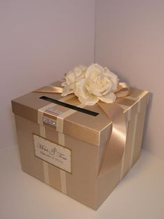 Wedding Card Box champagne / ivory Gift Card Box Money Box Holder--Customize your color Wedding Gift Card Box, Diy Card Box, Gift Card Boxes, Wedding Favor Boxes, Wedding Cards, Wedding Gifts, Quinceanera Decorations, Money Box, Money Sign