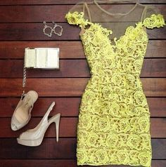 2015 Hot Women Fashion honey moda Chiffon Yellow Lace Dress Bodycon Bandage Dresses Vestidos  amarillo