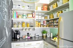 This pantry gets two things right: First, clear canisters make it easy to see how much food you have. And second, a variety of stylish choices (including a chalkboard wall!) create a space that you actually want to spend time in — and keep tidy.