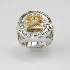 Custom Made Masonic Encient Mason All Seeing Eye Ring White and Yellow 18k Gold Plated Unique Handcrafted Design Highly Collectible (11.5)
