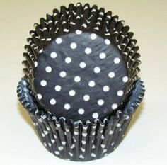 "Baking Cup Large (Jumbo) Muffin Size - Black Polka Dot Design - Greaseproof / 100 pcs by Oasis Supply Company. $9.99. H= 1 7/8""  B= 2 1/2"". Pack of approximately 100. King Size Greaseproof fluted paper baking cups for lining cavities of muffin pans.. When spread out flat this cup measures 6"" in diameter. Greaseproof fluted paper baking cups for lining cavities of muffin pans. Oven safe to 450°F/230C. Pack of approximately 100 Size: Large, King Size, Jumbo"