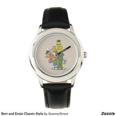 Bert and Ernie Classic Style Watch, Adult Unisex, Azure / Golden Rod / Olive Drab Bert & Ernie, Presents For Kids, Small Faces, Telling Time, Watch Faces, Stainless Steel Watch, Fashion Watches, Cool Gifts, Customized Gifts