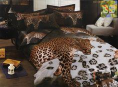 Modna brązowa pościel 3D do pokoju z gepardem
