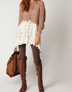 This inspires me - at first glance I thought the skirt was a cable knitted skirt. I think this would be a cool dress.