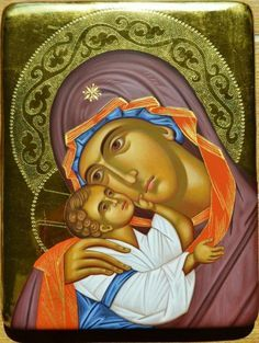 Religious Images, Religious Icons, Religious Art, Blessed Mother Mary, Blessed Virgin Mary, Spiritual Paintings, Paint Icon, Mary And Jesus, Byzantine Icons