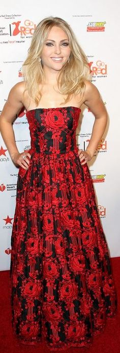 Who made AnnaSophia Robb's red print strapless gown that she wore in New York on February 6, 2013?
