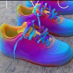 neon rainbow Air Force ones