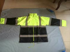 high vis yellow navy rain jacket , 190/170T polyester with PVC coating, seam taped, waterproof