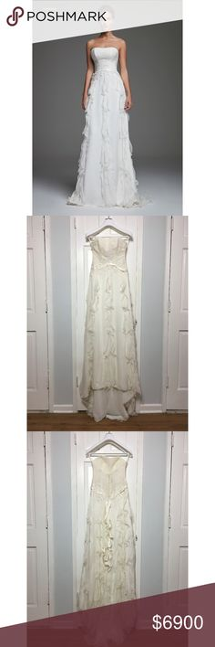 CRISTINA PACINI Haute Couture Dress sz 4 NWT CRISTINA PACINI Haute Couture Wedding Dress - size 2 / 4 - New - Retail $13,900 Brand: Cristina Pacini - High Fashion - Alta Moda - Haute Couture 100% Hand Made in Italy  Size 4 (Italian size 42) - fits small, it's in between a size 2 and a size 4 Measurements:  shoulders - strapeless chest - 13.5 (34cm) waist - front 12in (30.5cm) hips - 17in (43cm) - loose on hips total length form center front - 72in (183cm) materials: Silk, Tulle, Voile…
