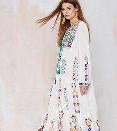 palenda 2017 new embroidery bohemian cotton dress loose pattern leisure large flowers white purple color lady