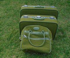 (3) Piece Green Wool  Vintage Skyway Luggage Set  #Skyway