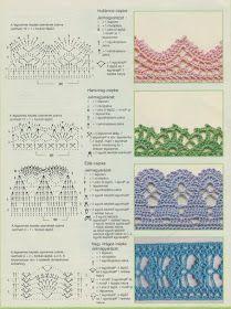 Horgolásról csak magyarul.: MINTÁK RAJZZAL LEÍRÁSSAL Modern Crochet Patterns, Crochet Stitches Patterns, Crochet Designs, Stitch Patterns, Knitting Patterns, Crochet Diagram, Crochet Chart, Crochet Motif, Knit Crochet