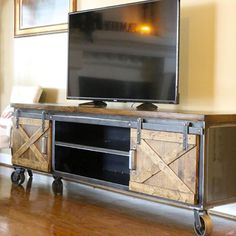 Barn Door Cabinet TV Stand Console Metal Vintage Industrial Modern Entertainment Center with rolling casters Barn Door Cabinet, Barn Door Tv Stand, Barn Door Console, Tv Stand Cabinet, Tv Stand Console, Barn Doors, Sliding Doors, Industrial Tv Stand, Vintage Industrial Furniture