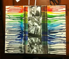Crayon art  Hot glue crayons to a canvas and use a hair dryer on low to slowly melt the crayons at an angle so it can drizzle down  Made this for my boyfriend!