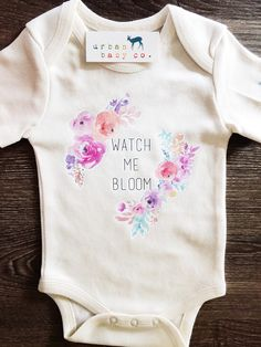 Watch Me Bloom, Boho, Hippie, Floral, Baby, Girl, Infant, Toddler, Newborn, Organic, Bodysuit, Outfit, One Piece, Onesie®, Onsie®, Tee, Layette, Onezie®
